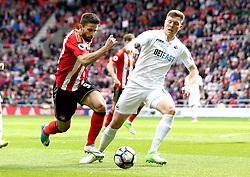Fabio Borini of Sunderland takes on Alfie Mawson of Swansea City - Mandatory by-line: Robbie Stephenson/JMP - 13/05/2017 - FOOTBALL - Stadium of Light - Sunderland, England - Sunderland v Swansea City - Premier League