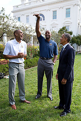 President Barack Obama speaks with former NBA players Grant Hill, left, and Alonzo Mourning, Members of the President's Council on Fitness, Sports and Nutrition in the Rose Garden of the White House, Sept. 15, 2014. (Official White House Photo by Pete Souza)<br /> <br /> This official White House photograph is being made available only for publication by news organizations and/or for personal use printing by the subject(s) of the photograph. The photograph may not be manipulated in any way and may not be used in commercial or political materials, advertisements, emails, products, promotions that in any way suggests approval or endorsement of the President, the First Family, or the White House.