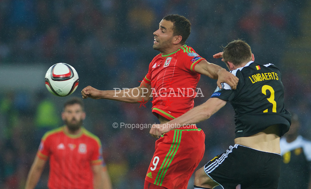 CARDIFF, WALES - Friday, June 12, 2015: Wales' Hal Robson-Kanu in action against Belgium during the UEFA Euro 2016 Qualifying Round Group B match at the Cardiff City Stadium. (Pic by Ian Cook/Propaganda)