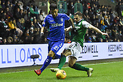 16 Lewis Stevenson tackles 21 Daniel Candeias during the Ladbrokes Scottish Premiership match between Hibernian and Rangers at Easter Road, Edinburgh, Scotland on 8 March 2019.