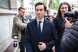 © Licensed to London News Pictures. 05/06/2019. London, UK. Conservative Party leadership contender Rory Stewart  MP arrives at a question and answer event in central London as part of his leadership campaign. Photo credit: Rob Pinney/LNP