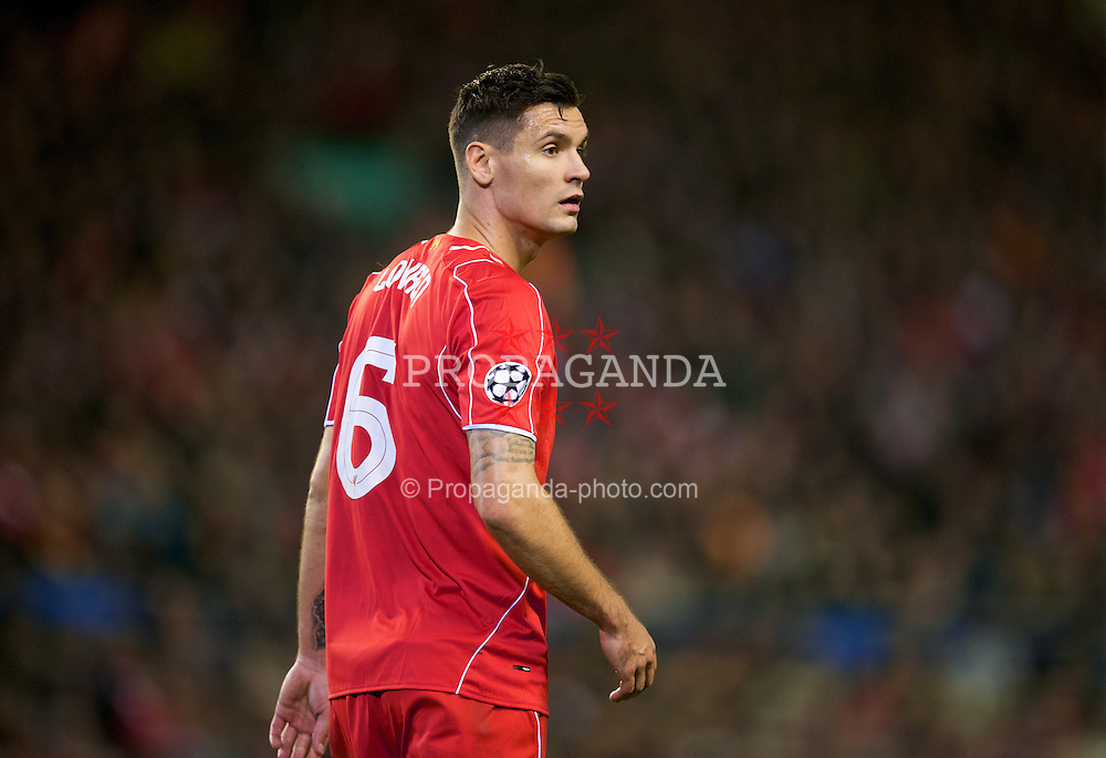 LIVERPOOL, ENGLAND - Wednesday, October 22, 2014: Liverpool's Dejan Lovren in action against Real Madrid CF during the UEFA Champions League Group B match at Anfield. (Pic by David Rawcliffe/Propaganda)