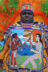 24 April 2016. New Orleans, Louisiana.<br /> The New Orleans Jazz and Heritage Festival. <br /> A Mardi Gras Indian at the festival.<br /> Photo; Charlie Varley/varleypix.com