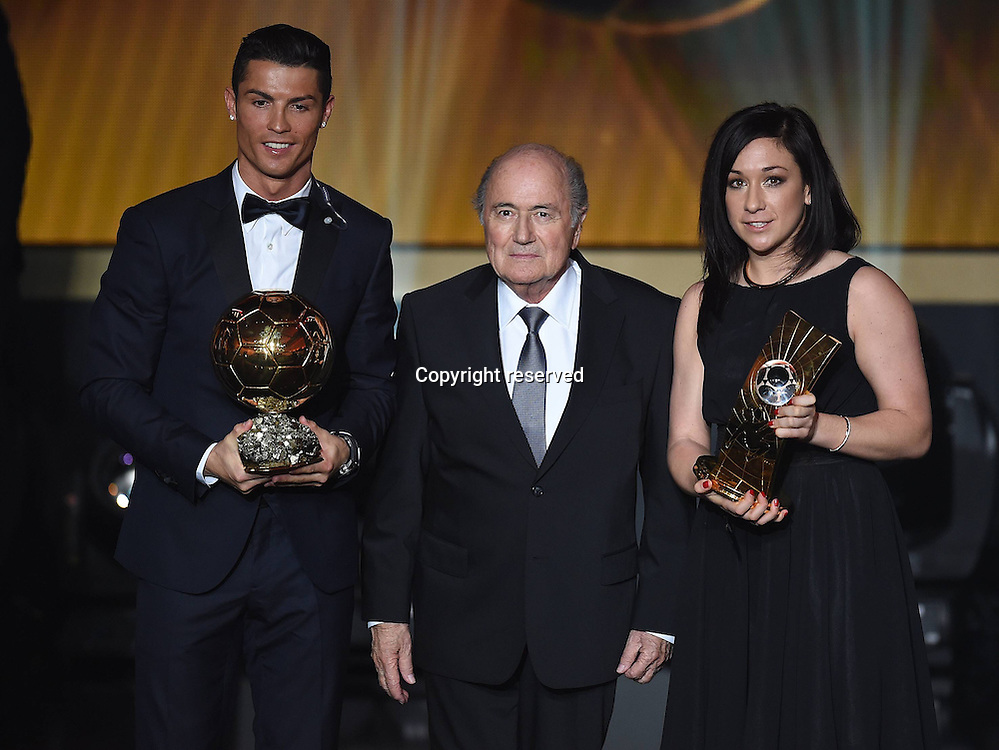 12.01.2015. Zurich, Switzerland. FIFA Ballon d'Or Gala 2014 held at the Kongresshaus in Zurich, Switzerland.  Cristiano Ronaldo with his trophy FIFA Ballon d Or 2014,  Nadine Kessler (GER)with her female footballer of the year trophy and FIFA President Joseph Blatter.