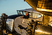 December 16, 2016<br /> Pilot Bill Sleeper directs volunteers at the Pine Mountain Lake Airport in Groveland, California, as he moves a 1928 Ford Tri-Motor airplane into a hangar on Friday, December 16, 2016.<br /> <br /> This Ford Tri-Motor NC9645, nicknamed The Tin Goose, has a wingspan of 77 feet 6 inches and was constructed in 1928. It was named the City of Wichita, and it was used to introduce the first coast-to-coast passenger air/rail service in the United States on July 7, 1929, and the development and inauguration of the first all air passenger service on October 25, 1930. The plane can carry up to 10 passengers.<br /> <br /> Experimental Aircraft Association (EAA) is a worldwide organization of aviation enthusiasts. EAA&rsquo;s 185,000 members and 1,000 local chapters enjoy sharing their passion for flying, building and restoring aircraft. Pine Mountain Lake&rsquo;s EAA Chapter 1337 is hosting the airline&rsquo;s visit.