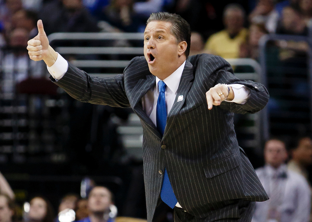 Mar 28, 2015; Cleveland, OH, USA; Kentucky Wildcats head coach John Calipari reacts against the Notre Dame Fighting Irish in the finals of the midwest regional of the 2015 NCAA Tournament at Quicken Loans Arena. Mandatory Credit: Rick Osentoski-USA TODAY Sports