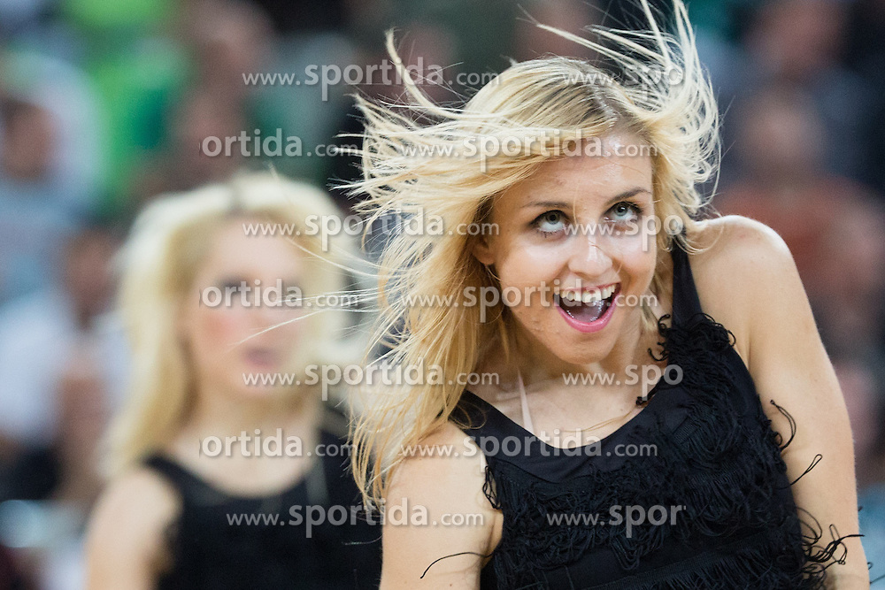 Cheerleaders Dragon Ladies - Zmajcice during basketball match between KK Union Olimpija and Panathinaikos Athens (GRE) in 3rd Round of Regular season of Euroleague 2012/13 on October 26, 2012 in Arena Stozice, Ljubljana, Slovenia. Panathinaikos defeated Union Olimpija 85:67. (Photo By Matic Klansek Velej / Sportida)