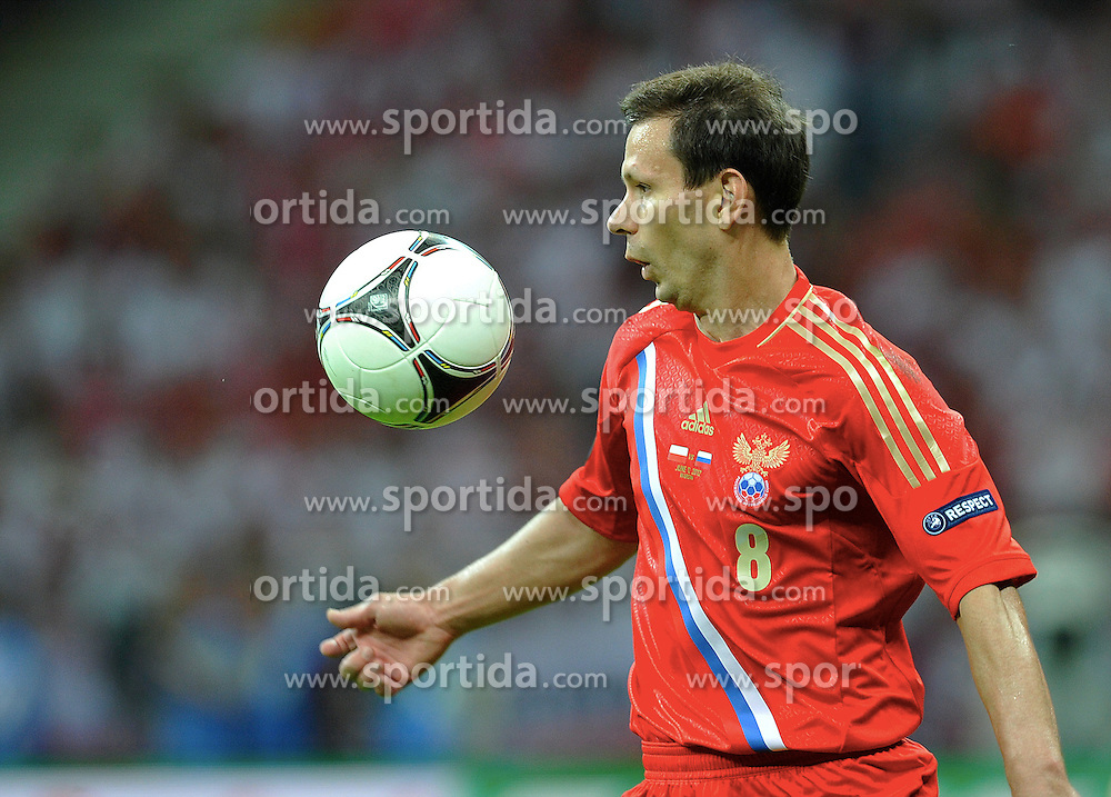 Warsaw 12/06/2012.POLAND, WARSAW .Konstantin Zyryanov of Russia during the Euro 2012 football championships match Poland vs. Russia, on June 12, 2012 at the National Stadium in Warsaw. .Photo by: Piotr Hawalej / WROFOTO