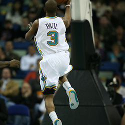 Chris Paul goes for a lay-up in the first half for the New Orleans Hornets against the Phoenix Suns on February 26, 2008 at the New Orleans Arena in New Orleans, Louisiana. The New Orleans Hornets defeated the Phoenix Suns 120-103.