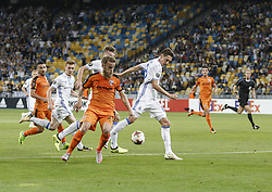 September 14, 2017 - Kiev, Ukraine - Marko Radac of Skenderbeu competes the ball with Denys Garmash of Dynamo and Dynamo Kiev's midfielder from Ukraine Viktor Tsygankov during the UEFA Europa League Group B football match between FC Dynamo Kiev and KF Skenderbeu at the Olimpiyskyi Stadium in Kiev on September 14, 2017. (Credit Image: © Sergii Kharchenko/NurPhoto via ZUMA Press)