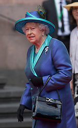 FRANKFURT-GERMANY-24-06-2015- Britain's Queen Elizabeth visits St Pauls Church and Romer in the centre of Frankfurt on her State Visit to Germany.<br /> Photograph by Ian Jones