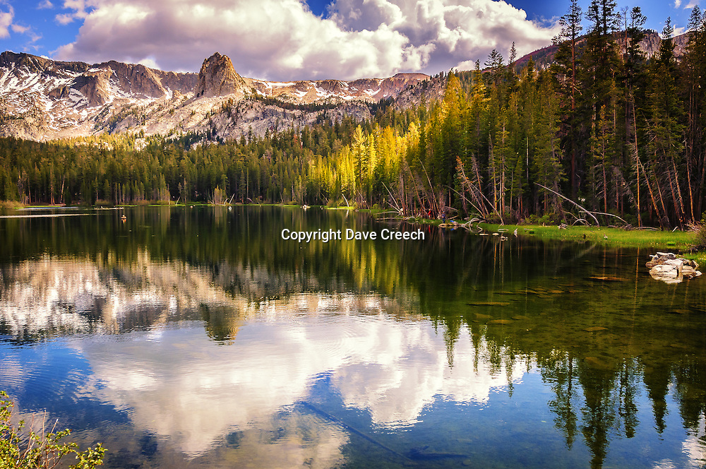 Reflected scene over Lake Mamie at Mammoth Lakes, California