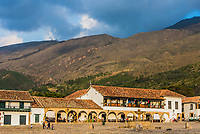 Villa De Leyva, Colombia  - February 9, 2017 : Plaza Mayor of  Villa de Leyva Boyaca in Colombia South America