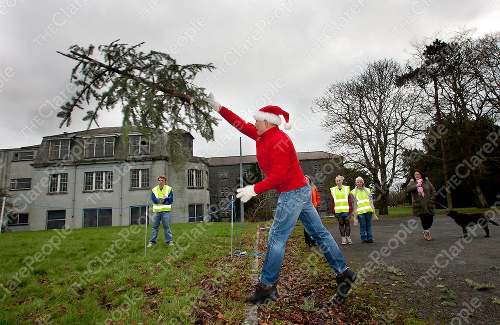 07.01.12<br /> The inaugural Irish Christmas Tree Throwing Championship took place on the grounds of OUr Lady's Hospital Gort Road, Ennis, Co Clare. All proceeds raised will go toward the development of a new Clare County Dog Shelter. Competing in the event was Paddy Sexton.<br /> <br /> Pic. Alan Place / Press 22