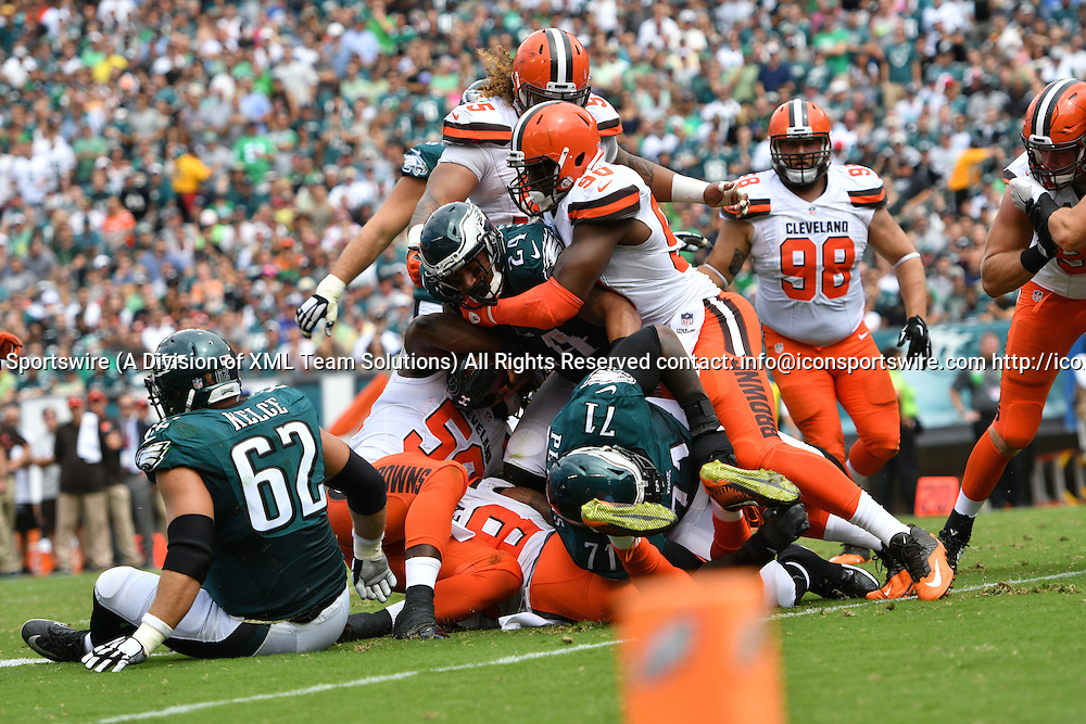 September 11, 2016: Philadelphia Eagles Running Back Ryan Mathews (24) [9040] is stopped by Cleveland Browns Defensive End Stephen Paea (90) [16719] during a National  Football League game between the Cleveland Browns and the Philadelphia Eagles at Lincoln Financial Field in Philadelphia, PA. (Photo by Andy Lewis/Icon Sportswire)