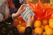 Elderly Asian woman counting her money to buy fruit