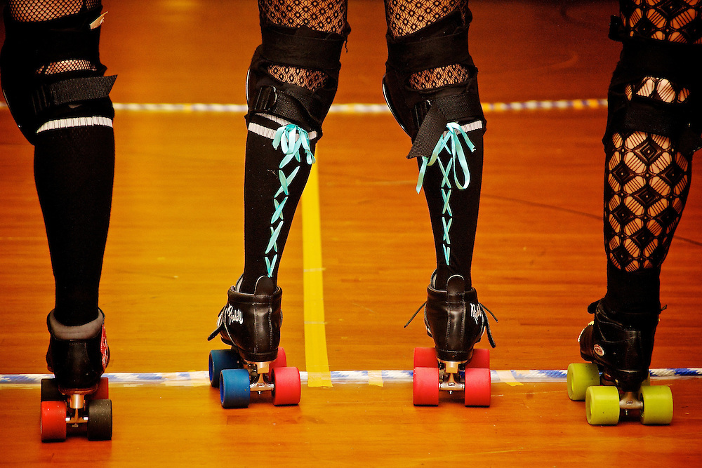 Feb. 26, 2007; Virginia Beach, VA, USA; A view of some the socks and skates of the Dominion Derby Girls before their bout against Harrisburg Area Roller Derby. Mandatory Credit: Peter J. Casey