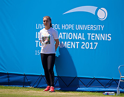 LIVERPOOL, ENGLAND - Sunday, June 18, 2017: A ball girl during the Women's Final on Day Four of the Liverpool Hope University International Tennis Tournament 2017 at the Liverpool Cricket Club. (Pic by David Rawcliffe/Propaganda)