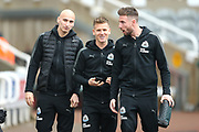 Jonjo Shelvey (#8) of Newcastle United (left), Matt Ritchie (#11) of Newcastle United (centre) and Paul Dummett (#3) of Newcastle United (right) arrive ahead of the Premier League match between Newcastle United and Southampton at St. James's Park, Newcastle, England on 10 March 2018. Picture by Craig Doyle.