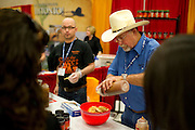 Ed Sralla of Sweet Ed's Salsa gives out samples during ZestFest at the Irving Convention Center on Saturday, January 26, 2013 in Irving, Texas. (Cooper Neill/The Dallas Morning News)