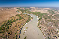 Aerial view of the Fitzroy River near Kings Sound, east of Derby.