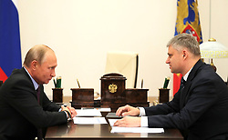 October 1, 2018 - Moscow Region, Russia - October 1, 2018. - Russia, Moscow Region, Novo-Ogaryovo. - Russian President Vladimir Putin and Russian Railways CEO - Chairman of the Executive Board Oleg Belozyorov (right) during a meeting. (Credit Image: © Russian Look via ZUMA Wire)