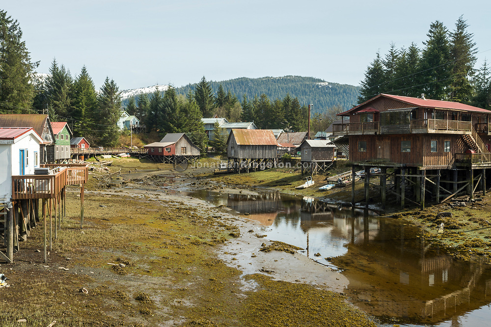 Houses built on stilts over water in Petersburg, Alaska.