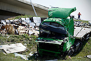 Turkish truck broke through a fence on highway A3, and landed in the canal Sava - Odra.