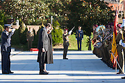 Brazil's president Dilma Rousseff reviewing troops