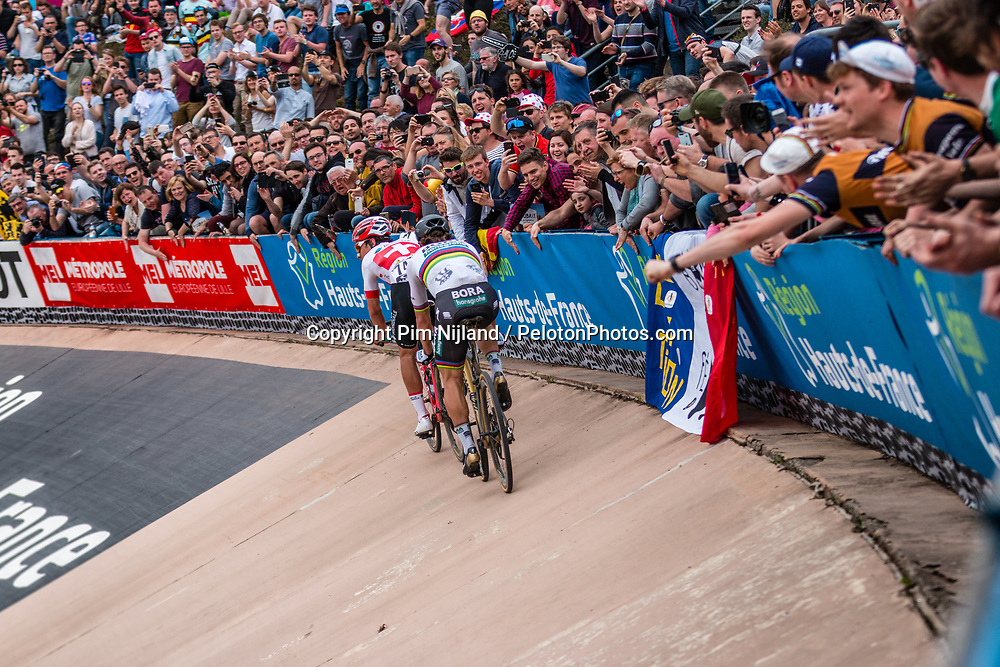Leading group with Peter SAGAN winning and Silvan DILLIER finishing 2nd, during the 2018 Paris-Roubaix race at Velodrome Roubaix, France, 8 April 2018, Photo by Pim Nijland / PelotonPhotos.com | All photos usage must carry mandatory copyright credit (Peloton Photos | Pim Nijland)