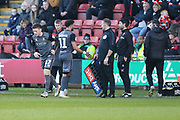Lincoln City substitution, #17 Shay McCartan replaces #11 Bruno Andrade during the EFL Sky Bet League 2 match between Crewe Alexandra and Lincoln City at Alexandra Stadium, Crewe, England on 26 December 2018.