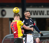 Dundee&rsquo;s Marcus Haber jumps with Partick Thistle's Liam Lindsay - Dundee v Partick Thistle in the Ladbrokes Scottish Premiership at Dens Park, Dundee.Photo: David Young<br /> <br />  - &copy; David Young - www.davidyoungphoto.co.uk - email: davidyoungphoto@gmail.com