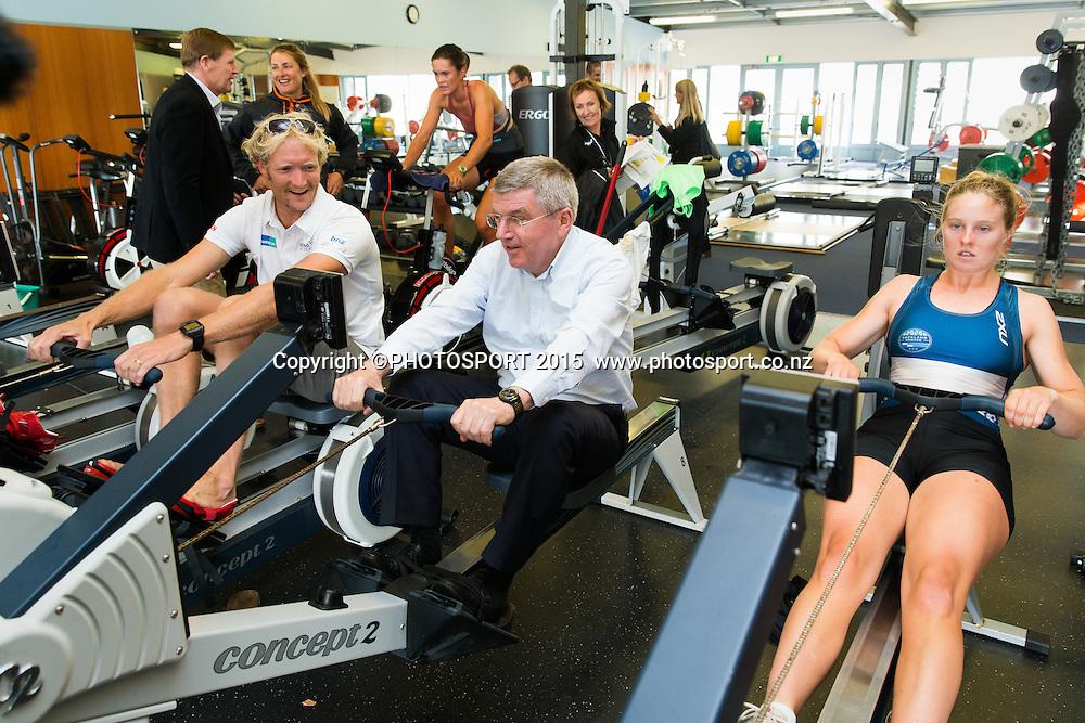 Eric Murray with IOC president Thomas Bach on an erg machine with Alexi Kerr, at the Rowing NZ Media Day, Lake Karapiro, Cambridge, New Zealand, Wednesday 6 May 2015. Photo: Stephen Barker/Photosport.co.nz