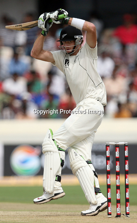 New Zealand Batsman Martin Guptil Hit The Shot During The 2nd Test Match India vs New Zealand Played at Rajiv Gandhi International Stadium, Uppal, Hyderabad 12, November 2010 <br /> (5-day match)