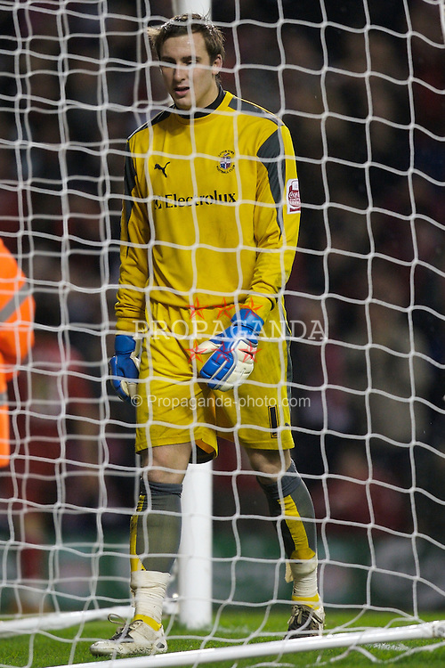 LIVERPOOL, ENGLAND - Tuesday, January 15, 2008: Luton Town's goalkeeper Dean Brill looks dejected after conceding the third goal during the FA Cup 3rd Round Replay at Anfield. (Photo by David Rawcliffe/Propaganda)