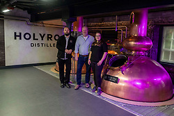 Pictured: Elizabeth Machin and Jack Mayo, (black jacket) distillers were joined by founder Rob Carpenter<br /><br />A new distillery for Edinburgh, The Holyrood Distillery, was available for viewing a day ahead of their official opening to the public on Tuesday 30 July 2019<br /><br /> Ger Harley | EEm 29 July 2019