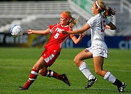 29 MAY 2010 -- FENTON, Mo. -- Incarnate World Acadmey soccer player Sarah Doggendorf (5) battles Cor Jesu Academy's Erin McGauley (15) during the MSHSAA Class 3 girls' soccer quarterfinal at the A-B Center in Fenton, Mo. Saturday, May 29, 2010. CJA won, 1-0, in overtime. Photo © copyright 2010 by Sid Hastings.