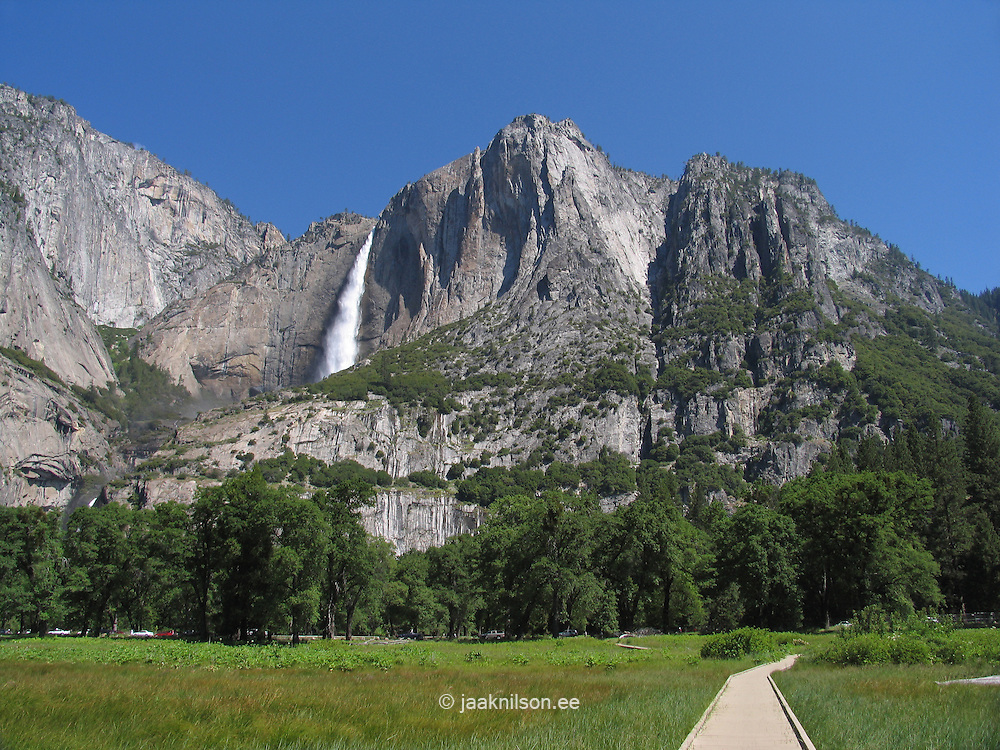 Upper Yosemite Waterfall and Valley Floor Meadow, Yosemite National Park, Sierra Nevada Mountains, California, USA