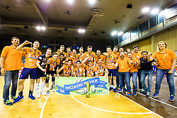 Winning team ACH Volley as national champions during 3rd Leg volleyball match between ACH Volley and OK Calcit Volley in Final of 1. DOL Slovenian National Championship 2017/18, on April 24, 2018 in Hala Tivoli, Ljubljana, Slovenia. Photo by Matic Klansek Velej / Sportida