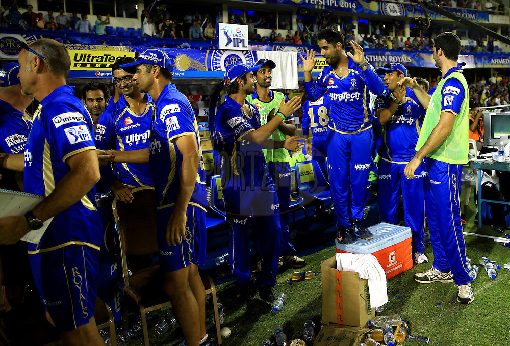 Team members of Rajasthan Royals celebrates in dugout  after winning the  match 25 of the Pepsi Indian Premier League Season 2014 between the Rajasthan Royals and the Kolkata Knight Riders held at the Sardar Patel Stadium, Ahmedabad, India on the 5th May  2014<br /> <br /> Photo by Sandeep Shetty / IPL / SPORTZPICS      <br /> <br /> <br /> <br /> Image use subject to terms and conditions which can be found here:  http://sportzpics.photoshelter.com/gallery/Pepsi-IPL-Image-terms-and-conditions/G00004VW1IVJ.gB0/C0000TScjhBM6ikg
