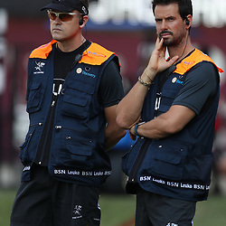 Deane Macquet (Physiotherapist) with DR Alan Kourie during the Super Rugby match between the Cell C Sharks and the Jaguares  April 8th 2017 - at Growthpoint Kings Park,Durban South Africa Photo by (Steve Haag)