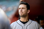 PHOENIX, AZ - APRIL 06:  Buster Posey #28 of the San Francisco Giants looks on from the dugout in the game against the Arizona Diamondbacks at Chase Field on April 6, 2017 in Phoenix, Arizona. The Arizona Diamondbacks won 9-3.  (Photo by Jennifer Stewart/Getty Images)