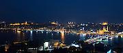 City scene Yeni Camii great mosque by Golden Horn of Bosphorus River, Topkapi Palace, Hagia Sophia Istanbul, Republic of Turkey