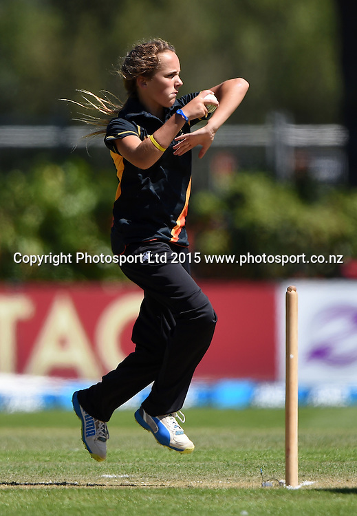 Wellington's 14yr old bowler Amelia Kerr who took 3 wickets. Womens domestic Twenty20 Cricket final between the Wellington Blaze and Otago Sparks at University Oval in Dunedin. New Zealand. Saturday 24 January 2015. Copyright Photo: Andrew Cornaga/www.Photosport.co.nz
