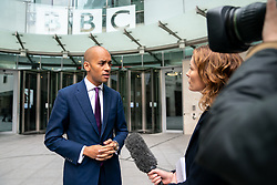 © Licensed to London News Pictures. 19/05/2019. London, UK. Change UK politician Chuka Umunna  speaks to media as he leaves BBC Broadcasting House after appear on The Andrew Marr Show this morning. Photo credit : Tom Nicholson/LNP