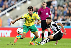 Dwight Gayle of Newcastle United goes past Jamaal Lascelles of Newcastle United - Mandatory by-line: Robbie Stephenson/JMP - 28/09/2016 - FOOTBALL - St James Park - Newcastle upon Tyne, England - Newcastle United v Norwich City - Sky Bet Championship