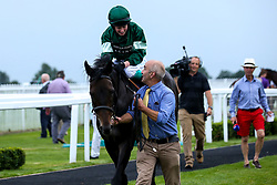 """Valentune Mist ridden by Sophie Ralston trained by James Grassick wins the Play """"""""Four From The Top"""""""" at Valuerater.co.uk Handicap - Mandatory by-line: Robbie Stephenson/JMP - 27/08/2019 - PR - Bath Racecourse - Bath, England - Race Meeting at Bath Racecourse"""