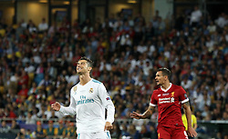 May 26, 2018 - Kiev, Ukraine - Real Madrid's Cristiano Ronaldo, left, reacts during the final match of the Champions League between Real Madrid and Liverpool at the Olympic Stadium in Kiev. Ukraine, Saturday, May 26, 2018  (Credit Image: © Danil Shamkin/NurPhoto via ZUMA Press)