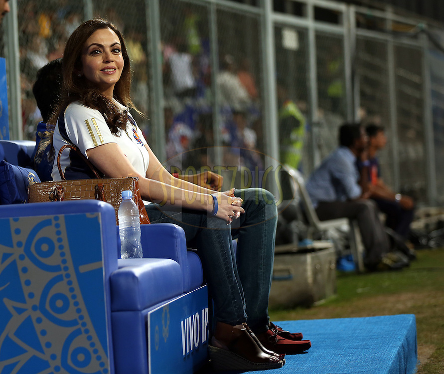 Nita Ambani owner of Mumbai Indians  during match 1 of the Vivo Indian Premier League ( IPL ) 2016 between the Mumbai Indians and the Rising Pune Supergiants held at the Wankhede Stadium in Mumbai on the 9th April 2016<br /> <br /> Photo by Sandeep Shetty/ IPL/ SPORTZPICS