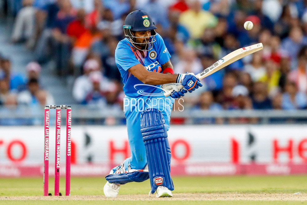 India T20 all rounder KL Lokesh Rahul plays one around the corner during the International T20 match between England and India at Old Trafford, Manchester, England on 3 July 2018. Picture by Simon Davies.